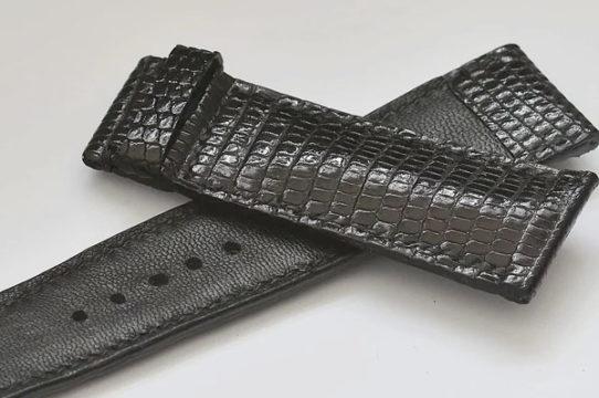 Bracelet de montre en lézard de couleur noir